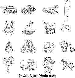 jouets, croquis, ensemble, icônes