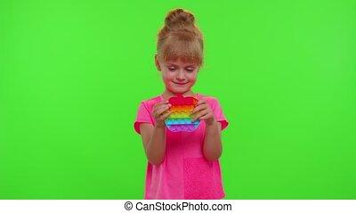 jouets, recuit de détente, pression, jouer, bulle, pop, il, enfant, inquiétude, poussée, chroma, clã©, sensoriel, girl, jeu