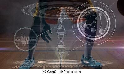 joueur, adn, basket-ball, en mouvement, jouer, 3d