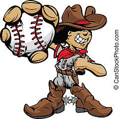 joueur base-ball, cow-boy, dessin animé, gosse