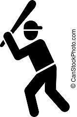 joueur, base-ball, pictogramme