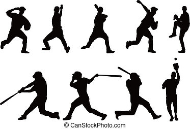 joueur base-ball, silhouette