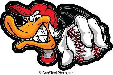joueur base-ball, tenue, canard