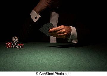 joueur, carte, casino