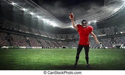joueur, champ, célébrer, football, stade, américain