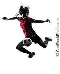 joueur, femme, football, silhouette, isolé