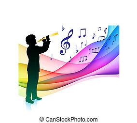 joueur, flûte, musical, couleur, note, spectre