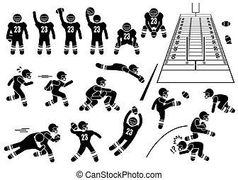 joueur, football américain, actions