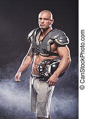 joueur, football américain, poser
