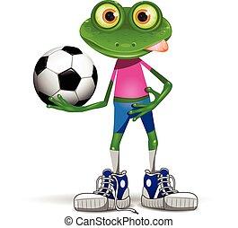 joueur, football, grenouille