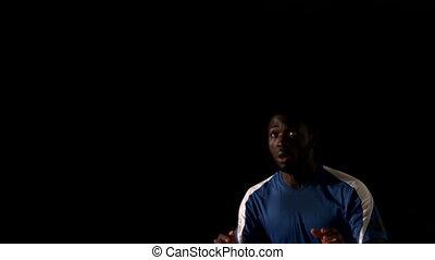 joueur football, titre, balle