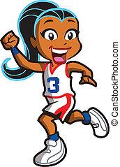 joueur, girl, basket-ball