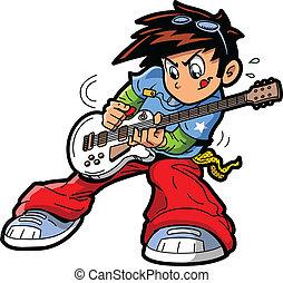 joueur guitare, anime, manga