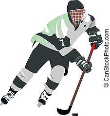 joueur, hockey, glace