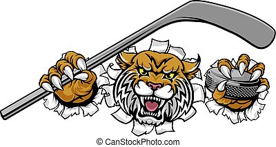 joueur, hockey, mascotte, sports animaux, wildcat, glace