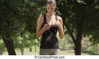 joueur, jogging, girl, mp3, joli