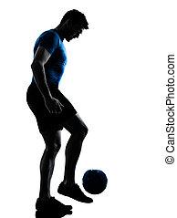 joueur, jonglerie, homme, football football