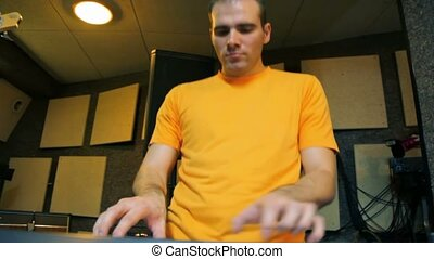 joueur, jouer, studio, synthétiseur, clavier