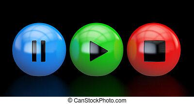 joueur, média, rendre, boutons, 3d
