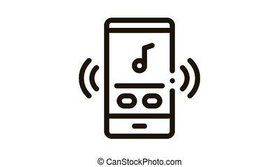 joueur, musique, icône, audio, animation, téléphone