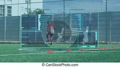 joueur, portée, football, mâle, sur, jouer, pas, balayage, animation