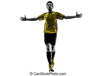 joueur, silhouette, fond, football, bonheur, homme, blanc, football, studio, joie, brésilien, une, jeune