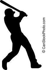 joueur, silhouette, pâte, base-ball