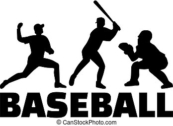 joueur, silhouettes, ensemble, base-ball