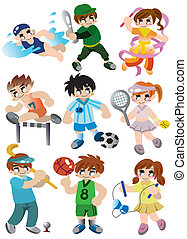 joueur, sport, ensemble, dessin animé, icône