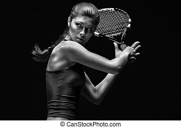 joueur, tennis, femme
