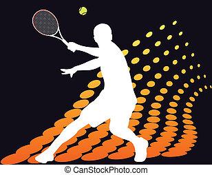 joueur, tennis, halftone, résumé