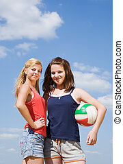joueurs, balle, volley-ball, femme