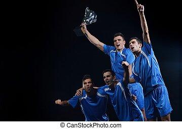 joueurs, football, victoire, célébrer
