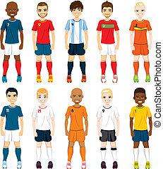 joueurs, national, équipe foot