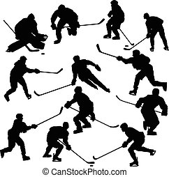 joueurs, silhouettes, ensemble, hockey, glace