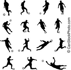 joueurs, silhouettes, football