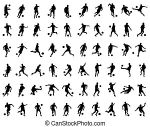 joueurs, silhouettes, football, noir