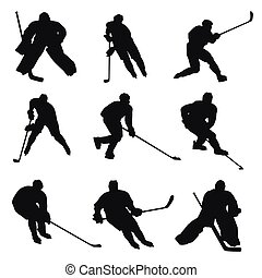 joueurs, silhouettes, hockey, glace