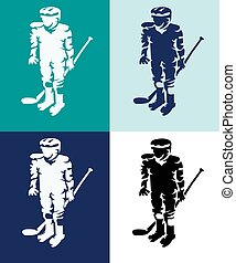 joueurs, silhouettes, hockey, mascottes