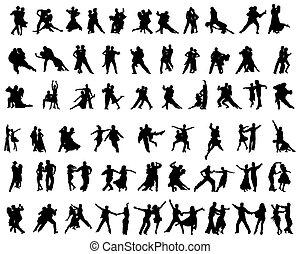 joueurs, silhouettes, tango