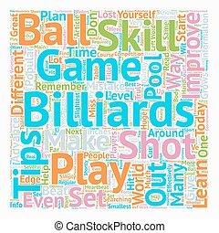 jouez ensemble, texte, billard, comment, wordcloud, concept, fond, compétence, ton, améliorer