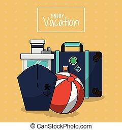 jouir de, balle, coloré, bagage, affiche, vacances, bateau croisière, plage