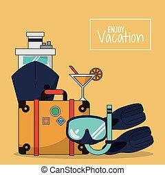 jouir de, cocktail, coloré, bagage, nageoires, vacances, snorkel, fond, bateau croisière