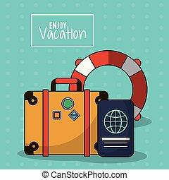 jouir de, coloré, bagage, affiche, cerceau, vacances, passeport, émission