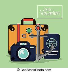 jouir de, coloré, bagage, photo, vacances, appareil photo, passeport, affiche, ancre