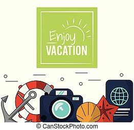 jouir de, couleur, affiche, cerceau, vacances, appareil photo, passeport, émission, ancre
