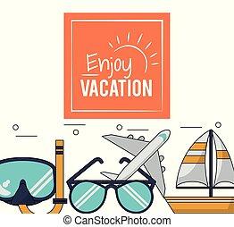 jouir de, couleur, affiche, vacances, avion, snorkel, bateau, lunettes
