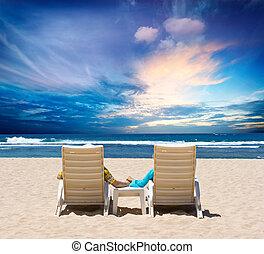 jouir de, couple, lune miel, océan coucher soleil