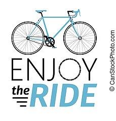 jouir de, détaillé, t-shirt, ville, classique, cavalcade, carte, titre, illustration, mens, vecteur, vélo, etc., route