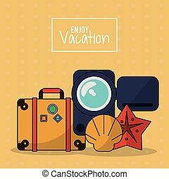 jouir de, etoile mer, coloré, bagage, affiche, vacances, magnétoscope